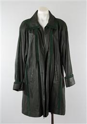 Sale 8740F - Lot 160 - A dark green leather coat with suede trim, size large