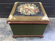 Sale 9014 - Lot 1075 - Victorian Mahogany Upholstered Chest or Pouf, the hinged lid with floral tapestry top & raised on bun feet (fabric distressed, h:50...