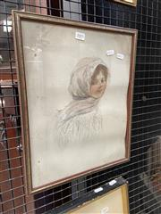 Sale 9077 - Lot 2077 - A.G.P Portrait of a Woman Wearing a Scarf, pencil and watercolour ( AF), frame: 42 x 34 cm -
