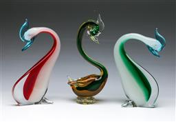 Sale 9098 - Lot 352 - Pair of coloured art glass cormorants (H:24cm), chips to base together with a similar example, eye chipped (H:26.5cm)