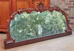 Sale 9102 - Lot 1075 - A mahogany framed mirror having once belonged to a sideboard. 96cm x 196cm