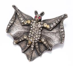 Sale 9180E - Lot 111 - A silver bat form brooch with stone inserts, some losses and repairs