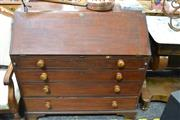 Sale 8031 - Lot 1004 - George III Mahogany Bureau, with fitted interior and four long graduated drawers