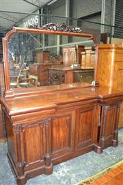 Sale 8093 - Lot 1708 - Victorian Mahogany Breakfront Sideboard with Large Mirrored Back above 4 Panel Doors (crest AF)