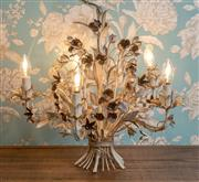 Sale 8500A - Lot 9 - A vintage c1950s Italian 5 branch tole chandelier with fine foliage detail & original painted finish - Condition: Re-wired in worki...