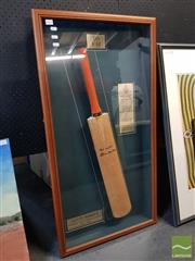 Sale 8548 - Lot 2064 - Signed & Framed Allan Border Cricket Bat