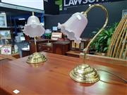 Sale 8672 - Lot 1035 - Pair of Brass Base Table Lamps with Glass Shades