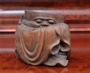 Sale 8815A - Lot 80 - An oriental root carving brush pot of a sleeping robed man, H x 15cm