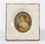 Sale 9010 - Lot 56 - An Ivory Framed Handpainted Miniature Signed Mary (Frame Size 12.5cm x 14cm)