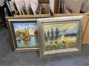 Sale 9050 - Lot 2078 - After Monet (2 works), Sunset and Windmills, oil on canvas, frame: 72 x 82 cm (each), unsigned