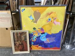 Sale 9094 - Lot 2044 - Group of (3) Assorted Paintings: Playful Abstract; Decorative Print and an Original Watercolour of a Town, various sizes