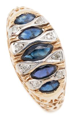 Sale 9128J - Lot 25 - A VICTORIAN INSPIRED 9CT GOLD SAPPHIRE AND DIAMOND RING; set across the top with 5 graduated navette cut blue sapphires and 8 single...