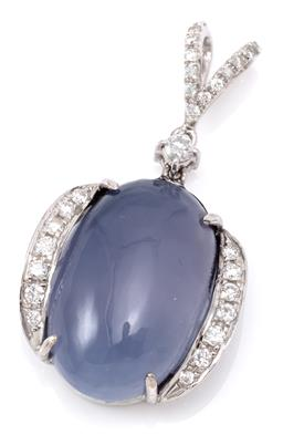 Sale 9156J - Lot 515 - A WHITE GOLD DIAMOND AND STONE SET PENDANT; centring a 19 x 13mm cabochon blue chalcedony flanked by 14 round brilliant cut diamonds...