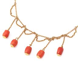 Sale 9140 - Lot 365 - AN ANTIQUE 15CT GOLD CORAL NECKLACE; cable link chain to central section attached with swags and fringe of chain to 5 cylindrical co...