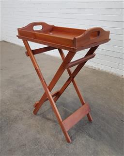 Sale 9154 - Lot 1035 - Pine butlers tray on stand (h:88 x w:60 x d:40cm)