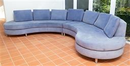 Sale 9190H - Lot 462 - A three piece sectional sofa in smalt blue. Height of back 71cm Depth Approx 90cm Width of each section approx 200cm (stains apparent)