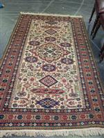 Sale 7919A - Lot 1753 - Probably Turkish Wool Carpet, Cream Field Scattered with Medallion & Ornaments within Floral Boarders, 217 x 137cm