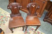 Sale 8093 - Lot 1706 - Pair of Regency Mahogany Hall Chairs