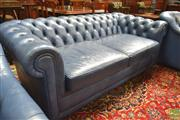 Sale 8282 - Lot 1019 - Moran Blue Buttoned Leather 2.5 Seater Chesterfield