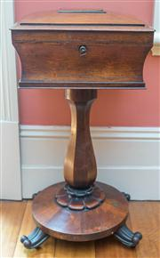 Sale 8284A - Lot 14 - A 19th century rosewood teapoy, with fitted interior, on a pedestal base, with a BADA stamp, height 80cm, by 38 x34cm, missing canis...