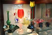 Sale 8304 - Lot 94 - Czech Art Glass Tulip with Other Art Glass incl. Pair of Swans