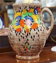 Sale 8320 - Lot 609 - 1930s Large Crown Ducal pottery jug colourfully enamelled with abstract flowers