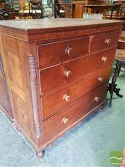 Sale 8485 - Lot 1089 - Late Georgian Provincial Oak Chest of Five Drawers, with quarter columns & turned feet