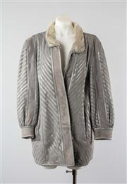 Sale 8740F - Lot 95 - A grey leather and suede striped jacket with lambswool lining, approx size L