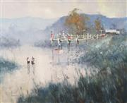 Sale 8764 - Lot 555 - Robert Hagan (1947 - ) - Fishing From a Pier 121 x 151cm