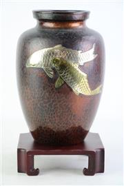 Sale 8849P - Lot 622 - A Beaten Copper and Brass Vase with Fish Motif on Timber Stand, Mark to Base, H29cm