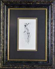 Sale 8905S - Lot 651 - NORMAN LINDSAY (1879 - 1969) - Nude Lady with a Head Scarf 56 x 45cm