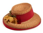 Sale 9071F - Lot 24 - A SUMMER STRAW HAT; with sunflower & red band