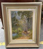 Sale 9077 - Lot 2065 - Margaret Foster, Walk in the Park, oil on canvas board, frame: 54 x 42 cm, signed lower left