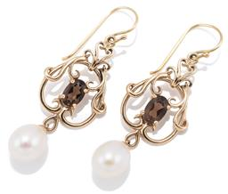 Sale 9132 - Lot 382 - A PAIR OF NOUVEAU STYLE PEARL AND QUARTZ EARRINGS; 9ct gold scrolling frames each set with an oval cut smoky quartz suspending an ov...