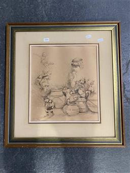 Sale 9176 - Lot 2086 - W.R (Mike) Lyons Naughty Toys pencil and ink 34 x 30cm, signed lower right -