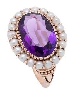 Sale 9209J - Lot 371 - A GEORGIAN STYLE 9CT ROSE GOLD GEMSTONE RING; centring a 15 x 9mm oval cut amethyst surrounded by 2.5mm wide half pearls, size O, wi...