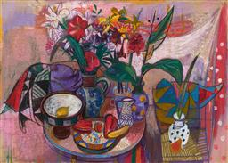 Sale 9214 - Lot 519 - LEON MORROCCO (1942 - ) Flowers in Italian Jug, 1990 oil stick and gouache on board 106.5 x 148 cm (frame: 128 x 169 x 4 cm) signed ...