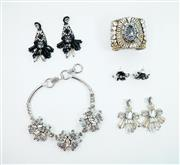 Sale 8450 - Lot 77 - Costume Jewellery set including Necklace, cuff and three pairs of earrings, as new