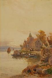 Sale 8791 - Lot 573 - Walter Stuart Lloyd (1875 - 1929) - Fisherman near Village Church 51.5 x 34.5cm
