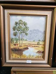 Sale 8645 - Lot 2071 - B Koster - Cattle Grazing by a Creek oil on canvas board, 34 x 28.5cm, signed lower left