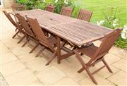 Sale 8677A - Lot 15 - Teak table and eight chairs 72 x 304 x 98cm