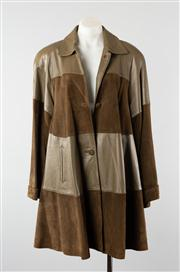 Sale 8740F - Lot 108 - A Jakie Palerevio olive green leather and suede panelled coat, size 12