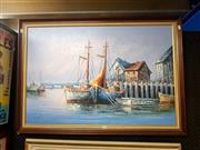 Sale 8695 - Lot 2040 - Artist Unknown, Port Scene, acrylic on canvas 71.5 x 101.5cm, signed lower right
