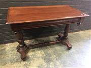 Sale 9014 - Lot 1094 - Victorian Mahogany Side Table, with moulded apron, turned end supports & stretcher (h:74 x w:105 x d:54cm)
