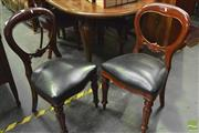 Sale 8359 - Lot 1090 - Set of Six Victorian Style Carved Mahogany Dining Chairs, with balloon backs & black leather seats