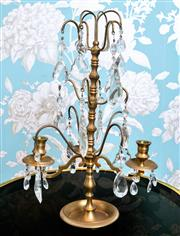 Sale 8500A - Lot 11 - A vintage 3 branch French style brass candelabra featuring beautiful original handcut crystal pendants and beads - Condition: Excell...