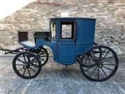 Sale 8539 - Lot 1050 - A mid 19th Century horse drawn carriage, or Coupe of French origin. The lined roof over a two door carriage with six bevel glazed...