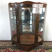 Sale 8649R - Lot 15 - Art Deco Timber Display Case with Glass Panel Doors (110 x  91 x 38cm)