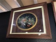 Sale 8850 - Lot 2051 - Framed Lacquer Panel of Bird & Fruit