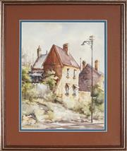 Sale 8891 - Lot 2007 - Ette Fizzell - Old Sandstone Houses Near The Rocks, Sydney, 1953 24 x 33 cm